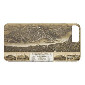 Capa iPhone 8 Plus/7 Plus Vista aérea de Chippewa Falls, Wisonsin (1907)