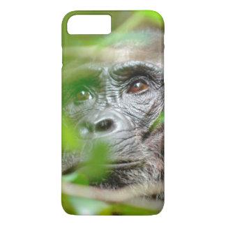 Capa iPhone 8 Plus/7 Plus Vista selvagem do chimpanzé (Troglodytes da
