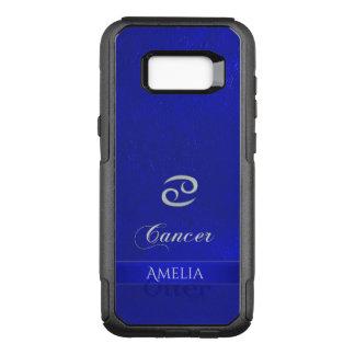 Capa OtterBox Commuter Para Samsung Galaxy S8+ Olhar de couro azul do cancer do sinal do zodíaco