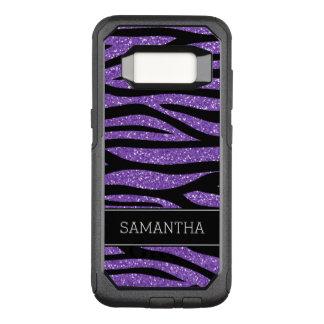 Capa OtterBox Commuter Para Samsung Galaxy S8 Zebra roxa do brilho do falso personalizada