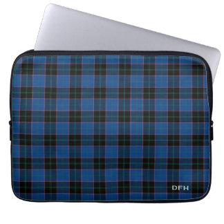 Capa Para Computador Monograma azul e preto do Tartan de Hume do clã da