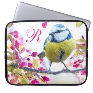 Capa Para Computador Monograma do pássaro da primavera