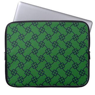 Capa Para Computador Nós quadrados abstratos elegantes no verde