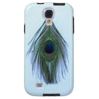 Capa Para Galaxy S4 Luz - pena azul do pavão no branco