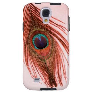 Capa Para Galaxy S4 Pena vermelha do pavão no rosa