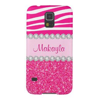Capa Para Galaxy S5 O brilho cor-de-rosa feito sob encomenda Sparkles