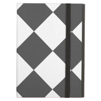 Capa Para iPad Air Grande Checkered de Diag - branco e cinzas