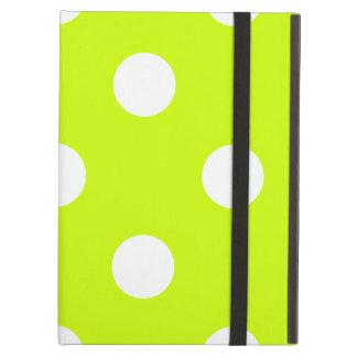 Capa Para iPad Air Grandes bolinhas - branco no amarelo fluorescente