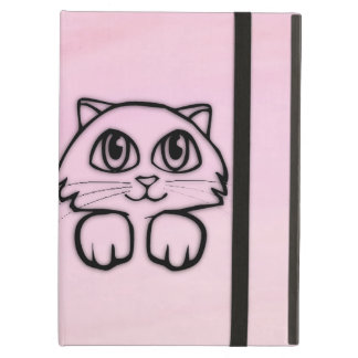 Capa Para iPad Air Rosa Eyed grande bonito do gato