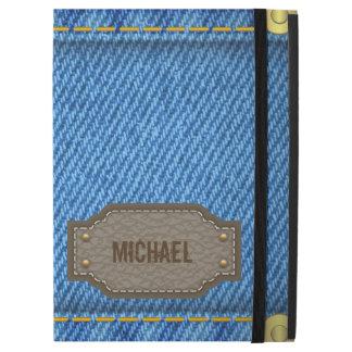 "Capa Para iPad Pro 12.9"" Jeans azuis da sarja de Nimes com etiqueta"