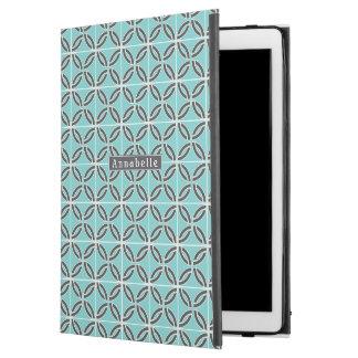 """Capa Para iPad Pro 12.9"""" Linhas, hortelã e cinzas torcidas com placa de"""