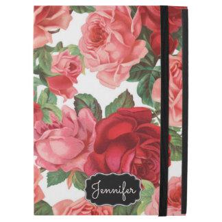 """Capa Para iPad Pro 12.9"""" Nome floral dos rosas rosas vermelha elegantes"""