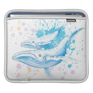 Capa Para iPad Respingo da cor das baleias azuis