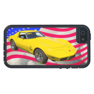 Capa Para iPhone 5 Arraia-lixa 1975 de Corveta com bandeira americana