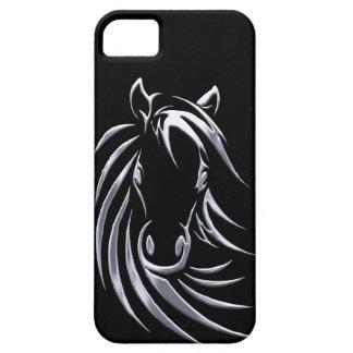 Capa Para iPhone 5 Cabeça de cavalo de prata no preto