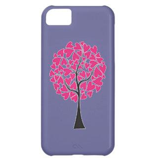 Capa Para iPhone 5C Árvore cor-de-rosa dos corações na caixa roxa do