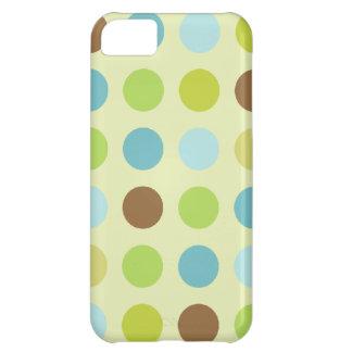 Capa Para iPhone 5C Bolinhas azuis marrons bonitos