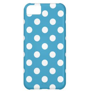 Capa Para iPhone 5C Bolinhas brancas no fundo do azul de pavão