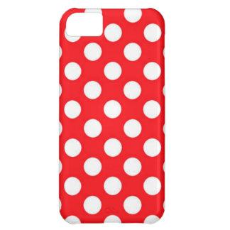 Capa Para iPhone 5C Bolinhas brancas no fundo vermelho