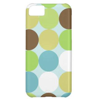Capa Para iPhone 5C Bolinhas do azul de Brown