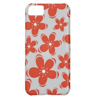 Capa Para iPhone 5C Caixa vermelha do iPhone 5 das flores do cinza de