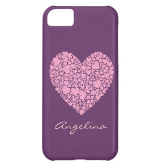 Capa Para iPhone 5C Corações cor-de-rosa dentro de um Coração-Roxo