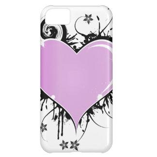 Capa Para iPhone 5C Estilo do tatuagem de Purple Heart com flores