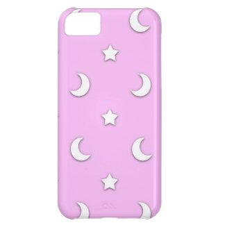 Capa Para iPhone 5C Estrelas e luas brancas pequenas no rosa