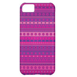 Capa Para iPhone 5C Estrelas e teste padrão Stripy roxos e cor-de-rosa