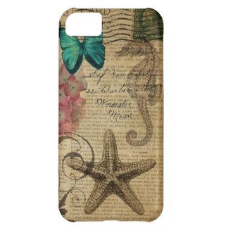 Capa Para iPhone 5C Hydrangea floral do seashell botânico francês da