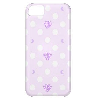Capa Para iPhone 5C Jóias de Purple Heart, luas crescentes, e pontos