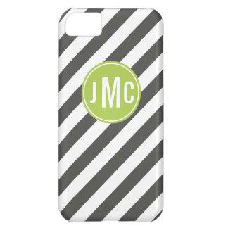 Capa Para iPhone 5C Listras do carvão vegetal e do limão com monograma
