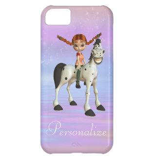 Capa Para iPhone 5C Menina bonito & caso feliz do iPhone 5 do cavalo