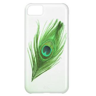 Capa Para iPhone 5C Pena verde escuro do pavão no iPhone branco 5