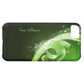 Capa Para iPhone 5C Pontos e linhas abstratos verdes caso do iPhone 5