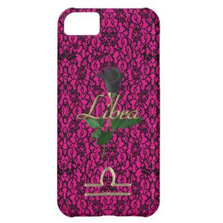 Capa Para iPhone 5C Rosa quente com laço preto e a caixa cor-de-rosa
