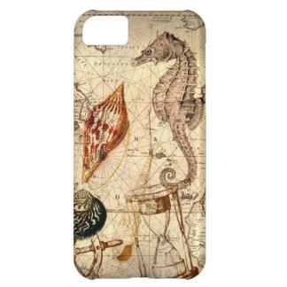 Capa Para iPhone 5C Seashell botânico do cavalo marinho do mapa