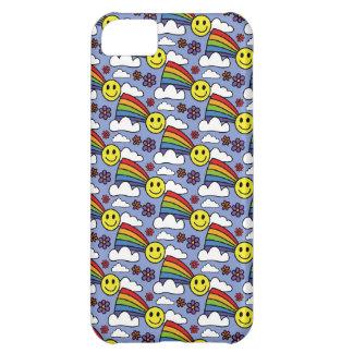 Capa Para iPhone 5C Smiley face do arco-íris e teste padrão do Hippie
