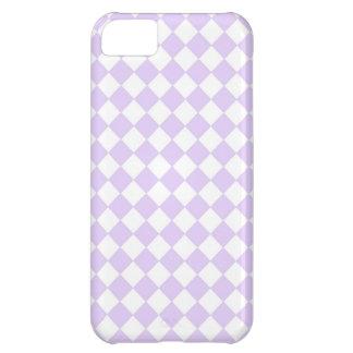 Capa Para iPhone 5C Teste padrão Checkered do diamante roxo
