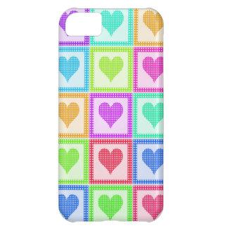 Capa Para iPhone 5C Teste padrão da edredão do coração do arco-íris