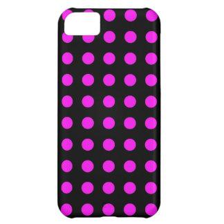 Capa Para iPhone 5C Teste padrão de bolinhas roxo no preto - caso do