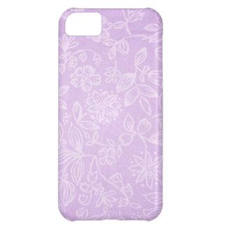 Capa Para iPhone 5C Teste padrão floral roxo do tecido da lavanda