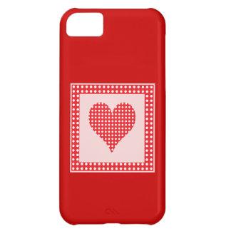 Capa Para iPhone 5C Teste padrão vermelho e branco do coração das
