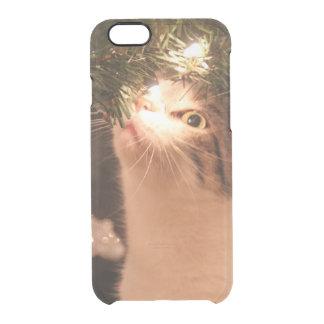 Capa Para iPhone 6/6S Transparente Gatos e luzes - gato do Natal - árvore de Natal
