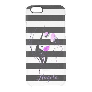 Capa Para iPhone 6/6S Transparente Silhueta da menina, branco preto