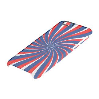 Capa Para iPhone 6/6S Transparente Vermelho branco azul espiral…
