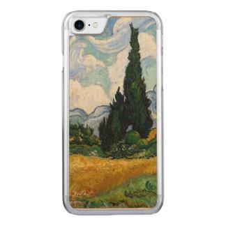 Capa Para iPhone 8/ 7 Carved Campo de trigo de Vincent van Gogh com ciprestes