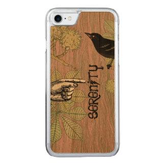 Capa Para iPhone 8/ 7 Carved Pássaro do vintage e apontar o teste padrão da mão