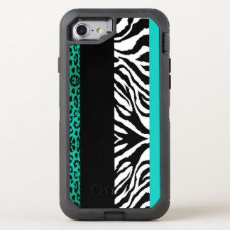Capa Para iPhone 8/7 OtterBox Defender Leopardo da cerceta e impressão animal da zebra