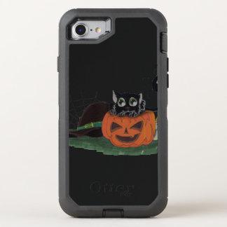 Capa Para iPhone 8/7 OtterBox Defender O gato preto senta-se em uma lanterna de Jack o